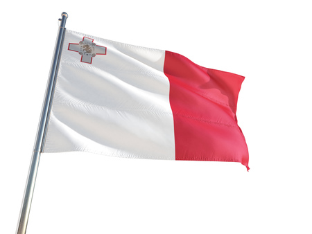 Malta National Flag waving in the wind, isolated white background. High Definition