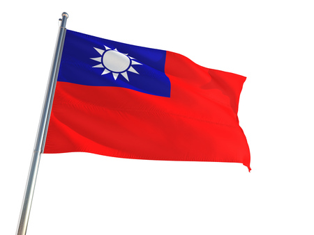 Taiwan National Flag waving in the wind, isolated white background. High Definition
