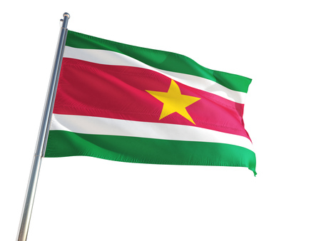 Suriname National Flag waving in the wind, isolated white background. High Definition