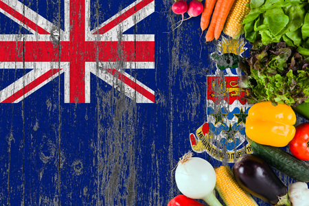 Fresh vegetables from XXX on table. Cooking concept on wooden flag background. Stock Photo