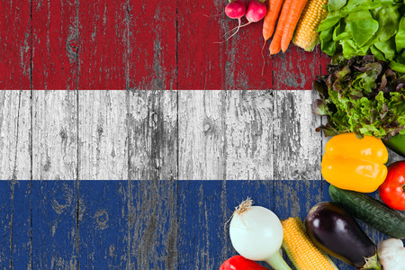Fresh vegetables from Netherlands on table. Cooking concept on wooden flag background. Foto de archivo