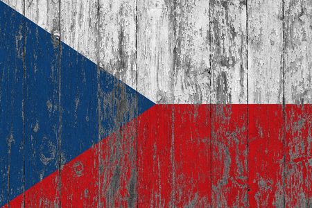 Flag of Czech Republic painted on worn out wooden texture background. Stock Photo