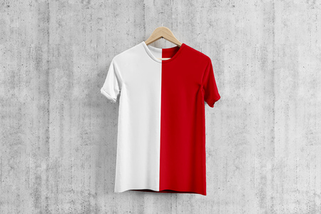 Indonesia flag T-shirt on hanger, White And Red team uniform design idea for garment production. National wear. Stock fotó