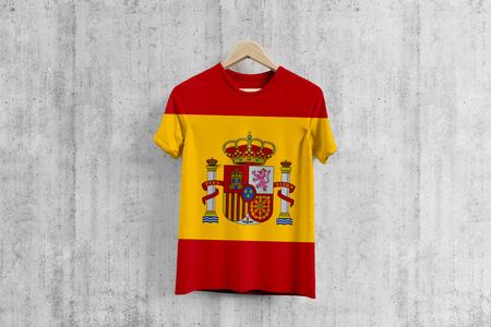 Spain flag T-shirt on hanger, Spanish team uniform design idea for garment production. National wear.