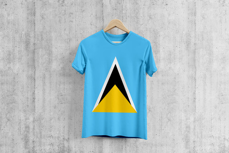 Saint Lucia flag T-shirt on hanger, team uniform design idea for garment production. National wear.