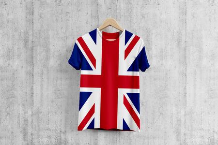 United Kingdom flag T-shirt on hanger, British team uniform design idea for garment production. National wear. Reklamní fotografie
