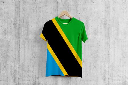Tanzania flag T-shirt on hanger, Tanzanian team uniform design idea for garment production. National wear.