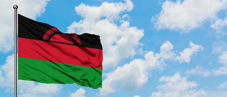 Malawi flag waving in the wind against white cloudy blue sky. Diplomacy concept, international relations.