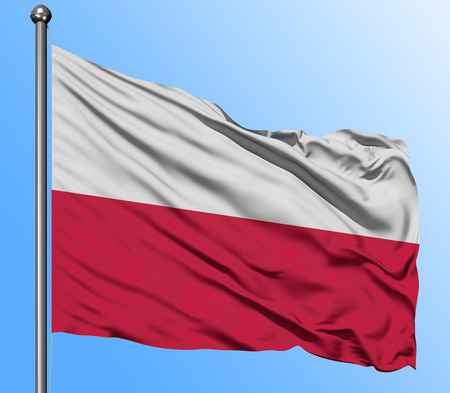 Poland flag waving in the deep blue sky background. Isolated national flag. Macro view shot.