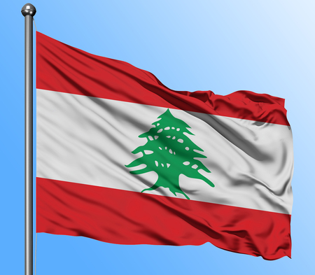 Lebanon flag waving in the deep blue sky background. Isolated national flag. Macro view shot. Standard-Bild