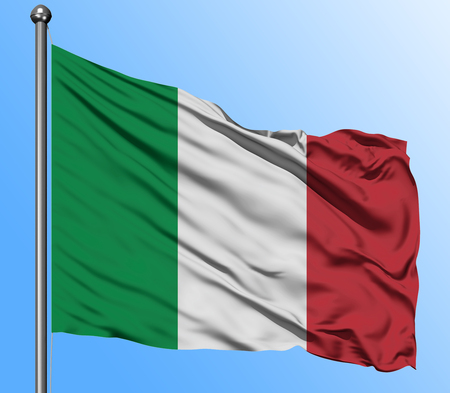 Italy flag waving in the deep blue sky background. Isolated national flag. Macro view shot.