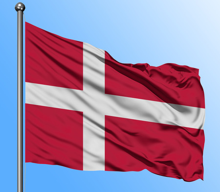 Denmark flag waving in the deep blue sky background. Isolated national flag. Macro view shot.