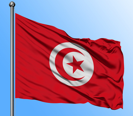 Tunisia flag waving in the deep blue sky background. Isolated national flag. Macro view shot.