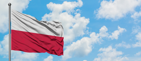 Poland flag waving in the wind against white cloudy blue sky. Diplomacy concept, international relations.