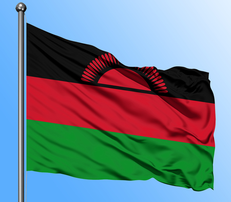 Malawi flag waving in the deep blue sky background. Isolated national flag. Macro view shot.