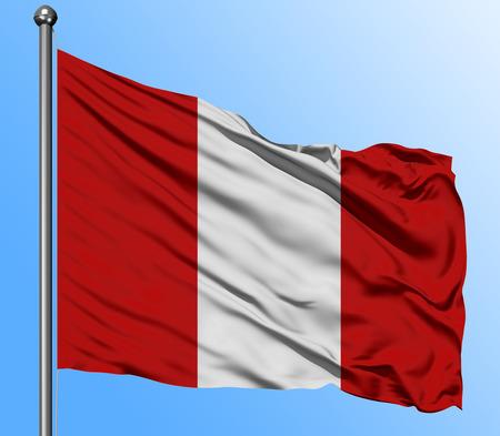 De brandir le drapeau du Pérou dans le fond de ciel bleu profond. Drapeau national isolé. Coup de vue macro.