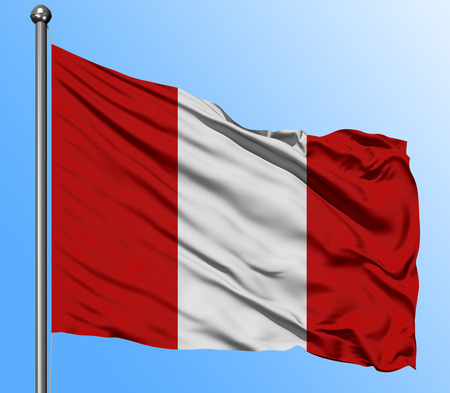 Peru flag waving in the deep blue sky background. Isolated national flag. Macro view shot.