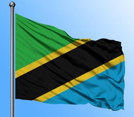 Tansania Fahnenschwingen im tiefblauen Himmelshintergrund. Isolierte Nationalflagge. Makroansicht geschossen. Standard-Bild