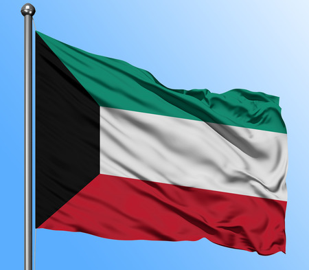 Kuwait flag waving in the deep blue sky background. Isolated national flag. Macro view shot. Foto de archivo