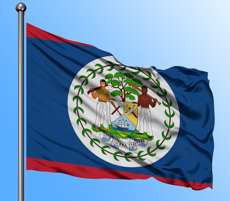 Belize flag waving in the deep blue sky background. Isolated national flag. Macro view shot. 스톡 콘텐츠