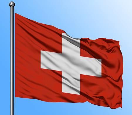 Switzerland flag waving in the deep blue sky background. Isolated national flag. Macro view shot.