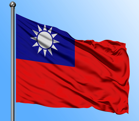 Taiwan flag waving in the deep blue sky background. Isolated national flag. Macro view shot. Фото со стока
