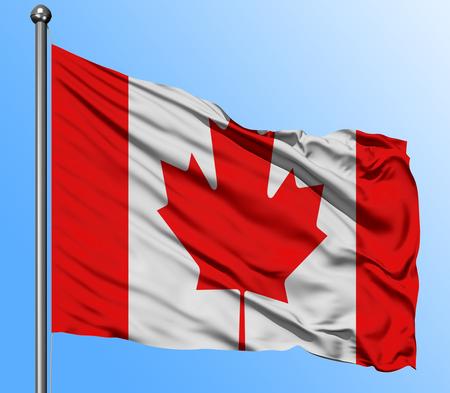 Bandera de Canadá ondeando en el fondo de cielo azul profundo. Bandera nacional aislada. Tiro de vista macro.