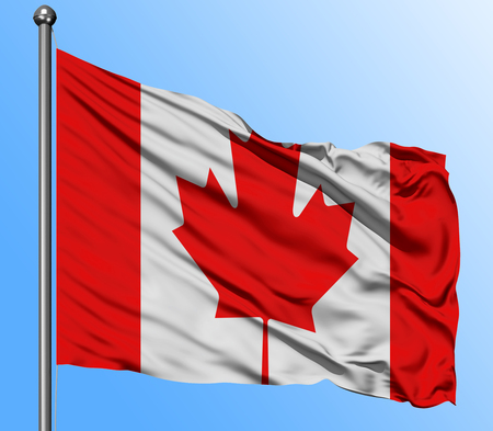 Canada flag waving in the deep blue sky background. Isolated national flag. Macro view shot.