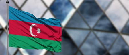 Azerbeidzjaanse vlag zwaaiend in de wind tegen wazig modern gebouw. Bedrijfsconcept. Nationaal samenwerkingsthema. Stockfoto