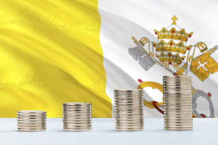 Vatican City flag waving in the background with rows of coins for finance and business concept. Saving money.