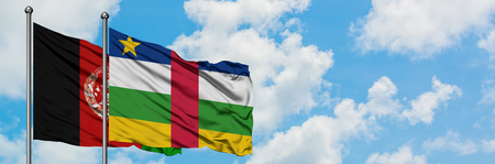 Afghanistan and Central African Republic flag waving in the wind against white cloudy blue sky together. Diplomacy concept, international relations.