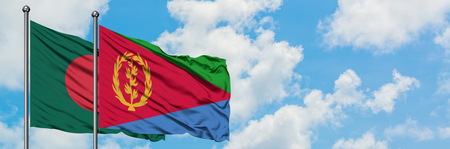 Bangladesh and Eritrea flag waving in the wind against white cloudy blue sky together. Diplomacy concept, international relations.