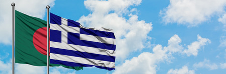 Bangladesh and Greece flag waving in the wind against white cloudy blue sky together. Diplomacy concept, international relations.