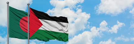 Bangladesh and Palestine flag waving in the wind against white cloudy blue sky together. Diplomacy concept, international relations.