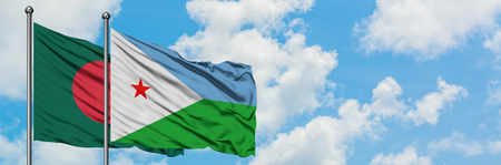 Bangladesh and Djibouti flag waving in the wind against white cloudy blue sky together. Diplomacy concept, international relations. Stock Photo