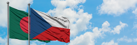 Bangladesh and Czech Republic flag waving in the wind against white cloudy blue sky together. Diplomacy concept, international relations.