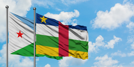 Djibouti and Central African Republic flag waving in the wind against white cloudy blue sky together. Diplomacy concept, international relations.