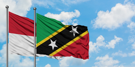 Iraq and Saint Kitts And Nevis flag waving in the wind against white cloudy blue sky together. Diplomacy concept, international relations.