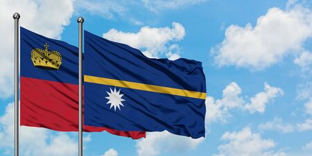 Liechtenstein and Nauru flag waving in the wind against white cloudy blue sky together. Diplomacy concept, international relations.