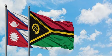 Nepal and Vanuatu flag waving in the wind against white cloudy blue sky together. Diplomacy concept, international relations.