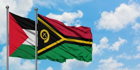 Palestine and Vanuatu flag waving in the wind against white cloudy blue sky together. Diplomacy concept, international relations. Stock fotó
