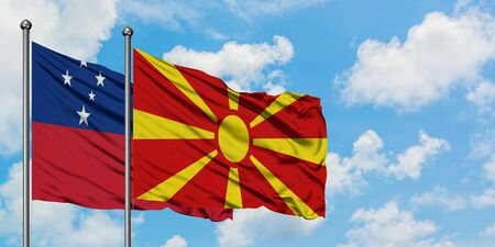Samoa and Macedonia flag waving in the wind against white cloudy blue sky together. Diplomacy concept, international relations.