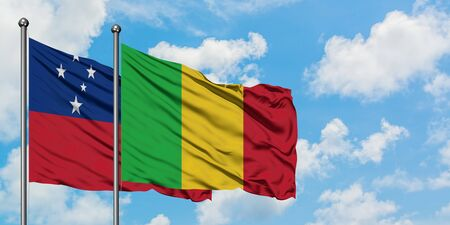 Samoa and Mali flag waving in the wind against white cloudy blue sky together. Diplomacy concept, international relations.