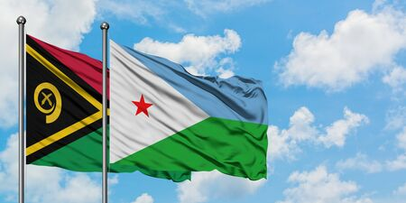Vanuatu and Djibouti flag waving in the wind against white cloudy blue sky together. Diplomacy concept, international relations.