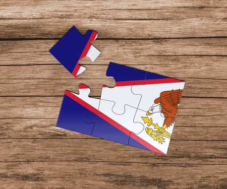 American Samoa national flag on jigsaw puzzle. One piece is missing. Danger concept.