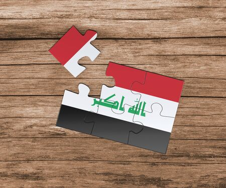 Iraq national flag on jigsaw puzzle. One piece is missing. Danger concept.