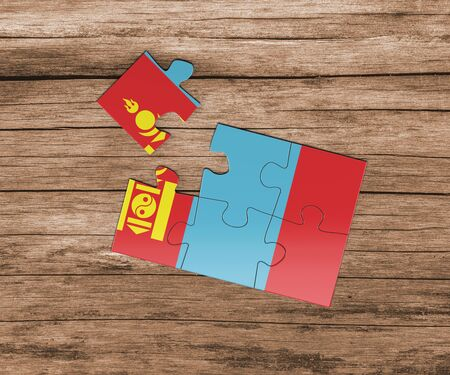 Mongolia national flag on jigsaw puzzle. One piece is missing. Danger concept. Banque d'images