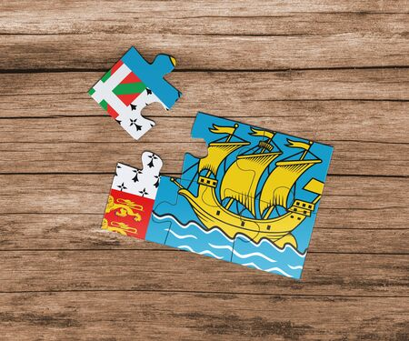 Saint Pierre And Miquelon national flag on jigsaw puzzle. One piece is missing. Danger concept.