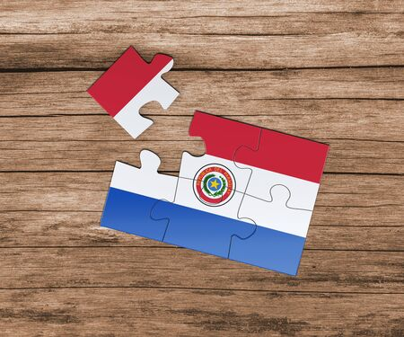 Paraguay national flag on jigsaw puzzle. One piece is missing. Danger concept.