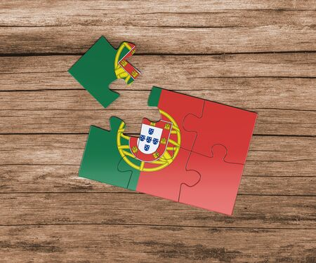 Portugal national flag on jigsaw puzzle. One piece is missing. Danger concept.